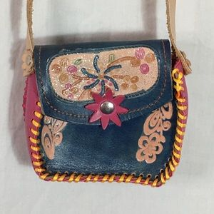Unknown Bags - Cute Little Tooled Leather Crossbody Purse
